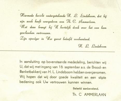 Overname Bakker Lindeboom door Bakkerij Ammerlaan 1957